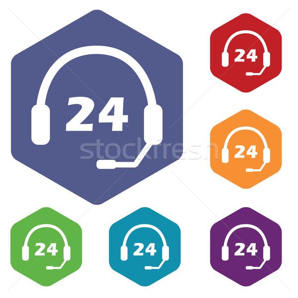 サポート 24 アイコン 六角形 セット ストックフォト © ylivdesign