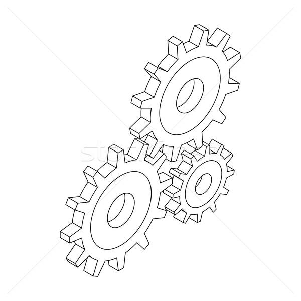 Fogaskerekek ikon izometrikus 3D stílus három Stock fotó © ylivdesign