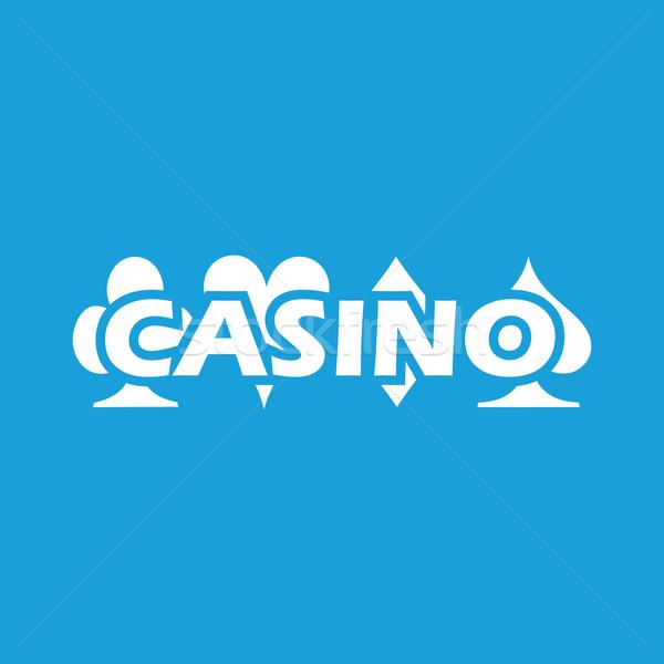 казино белый икона веб изолированный синий Сток-фото © ylivdesign