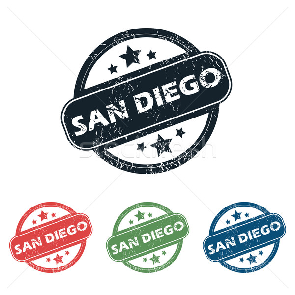 Round San Diego stamp set Stock photo © ylivdesign