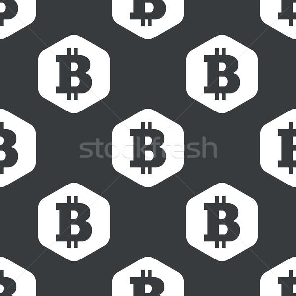 Fekete hatszög bitcoin minta kép szimbólum Stock fotó © ylivdesign