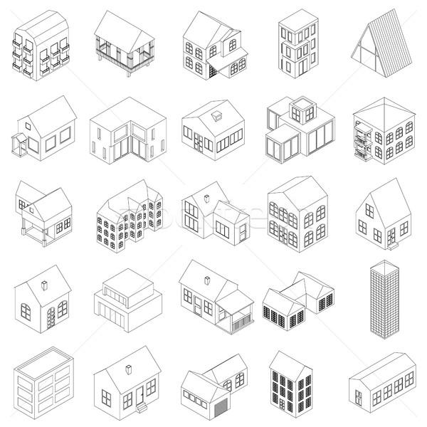 Ház ikon szett izometrikus 3D stílus fehér Stock fotó © ylivdesign