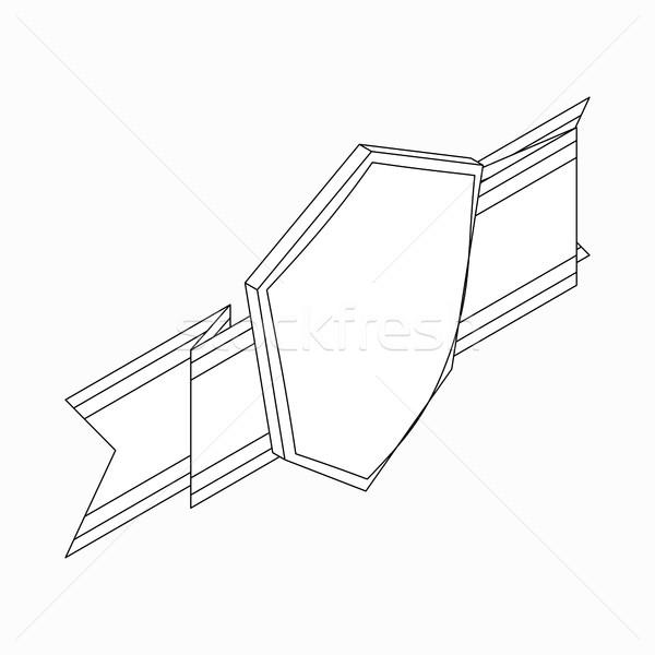 シールド リボン アイコン アイソメトリック 3D スタイル ストックフォト © ylivdesign