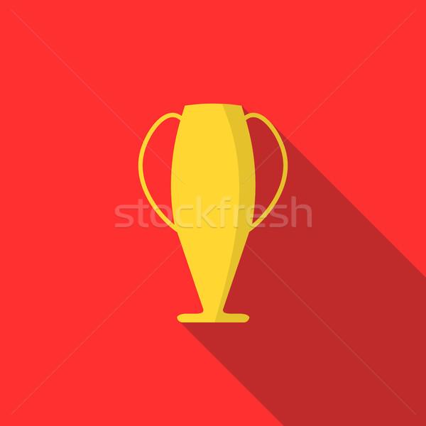 Vencedor copo ícone estilo vermelho troféu Foto stock © ylivdesign
