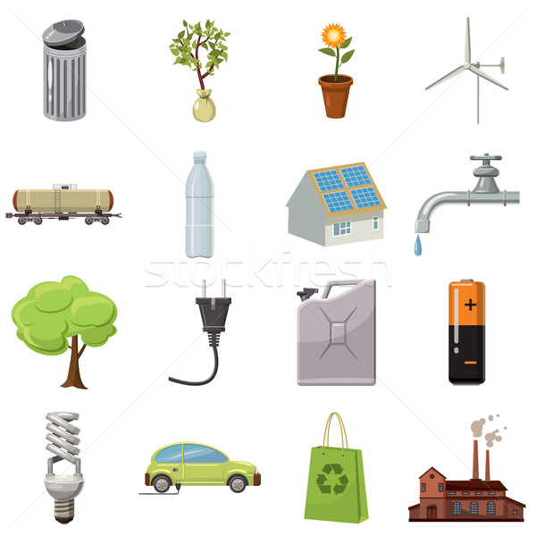 Ecology icons set, cartoon style Stock photo © ylivdesign
