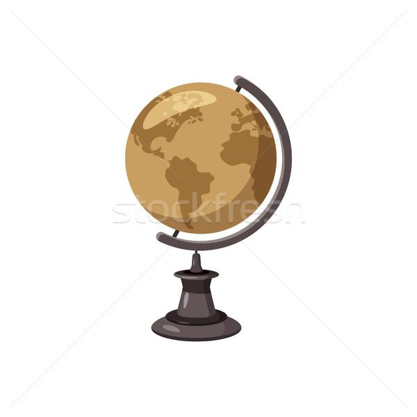 Wereldbol icon cartoon stijl witte zee Stockfoto © ylivdesign