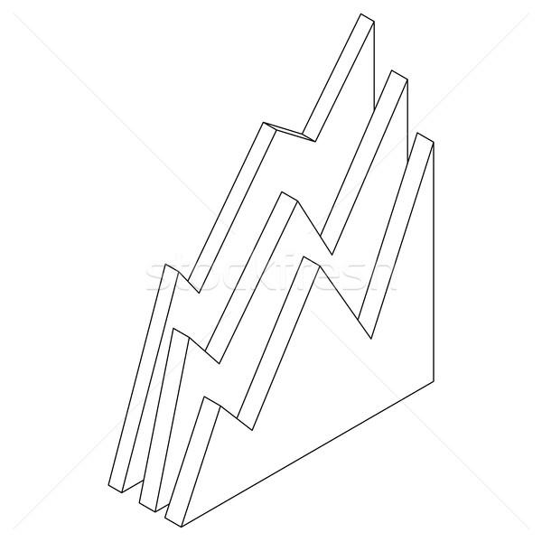 бизнес-графика икона изометрический 3D стиль изолированный Сток-фото © ylivdesign