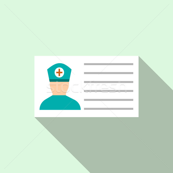 Medical ID icon, flat style  Stock photo © ylivdesign
