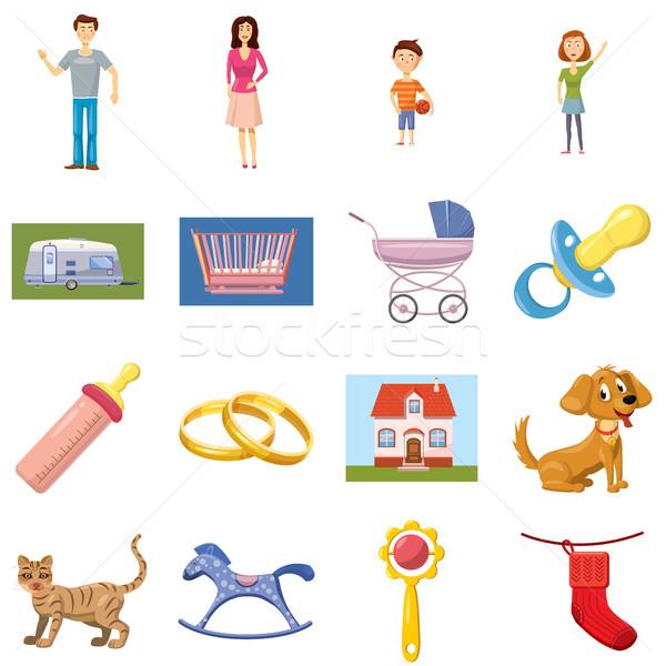 Rodziny zestaw ikona cartoon stylu odizolowany Zdjęcia stock © ylivdesign