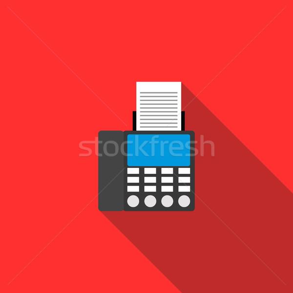 Fax icône style rouge bureau papier Photo stock © ylivdesign