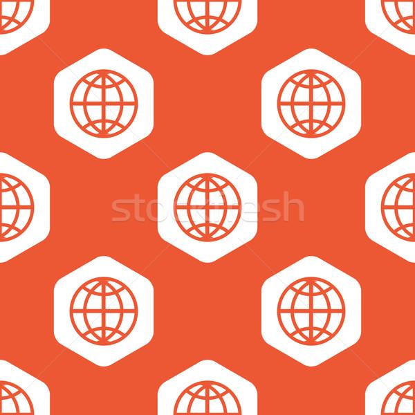 оранжевый шестиугольник мира шаблон изображение белый Сток-фото © ylivdesign