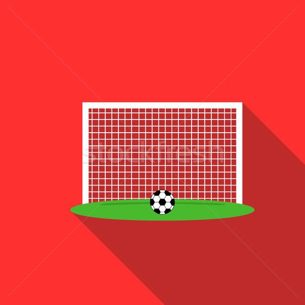 мяча футбола ворот икона стиль красный Сток-фото © ylivdesign