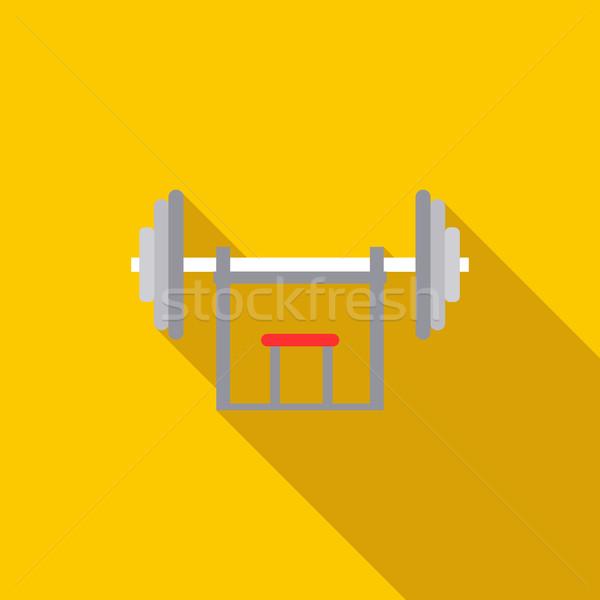 Súlyzó ikon stílus citromsárga fitnessz egészség Stock fotó © ylivdesign