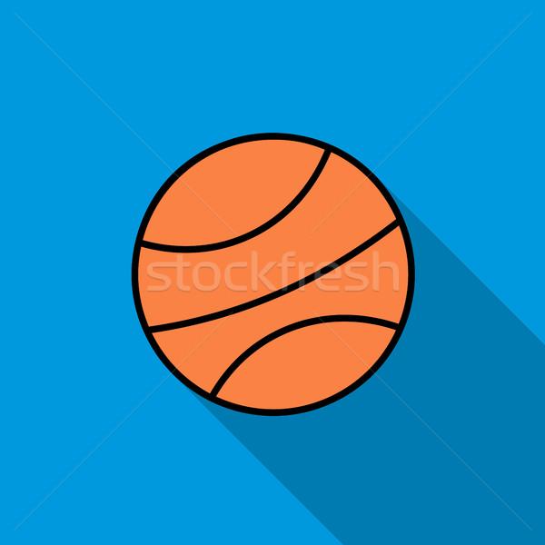 Kosárlabda labda ikon stílus kék sport Stock fotó © ylivdesign