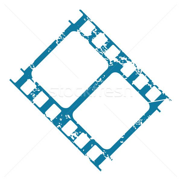 Filmszalag grunge ikon kék kép darab Stock fotó © ylivdesign