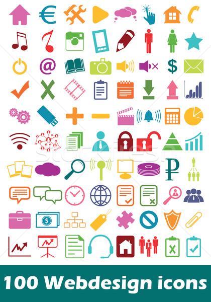 Simple webdesign icon set Stock photo © ylivdesign