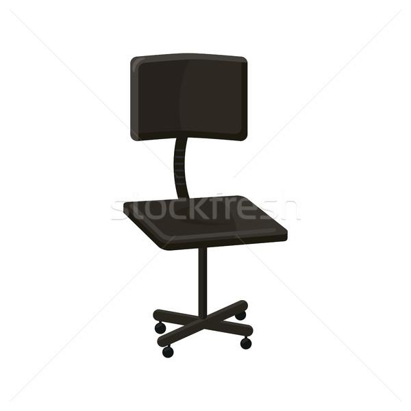 Siyah ofis koltuğu ikon karikatür stil beyaz Stok fotoğraf © ylivdesign