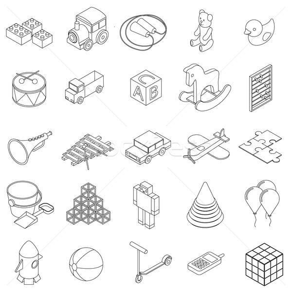 Children toys icons set, isometric 3d style Stock photo © ylivdesign