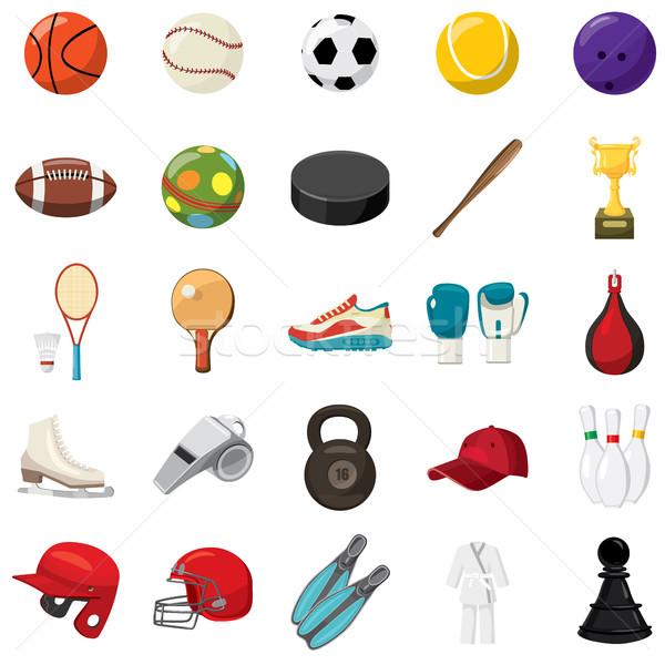 Sport game icons set, cartoon style Stock photo © ylivdesign