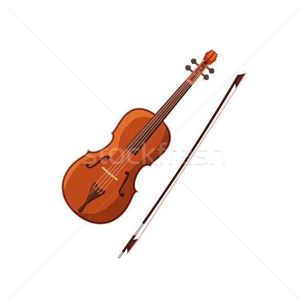 Violino Icone Desenho Animado Estilo Branco Madeira