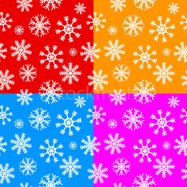 White snowflakes set on different backgrounds Stock photo © ylivdesign