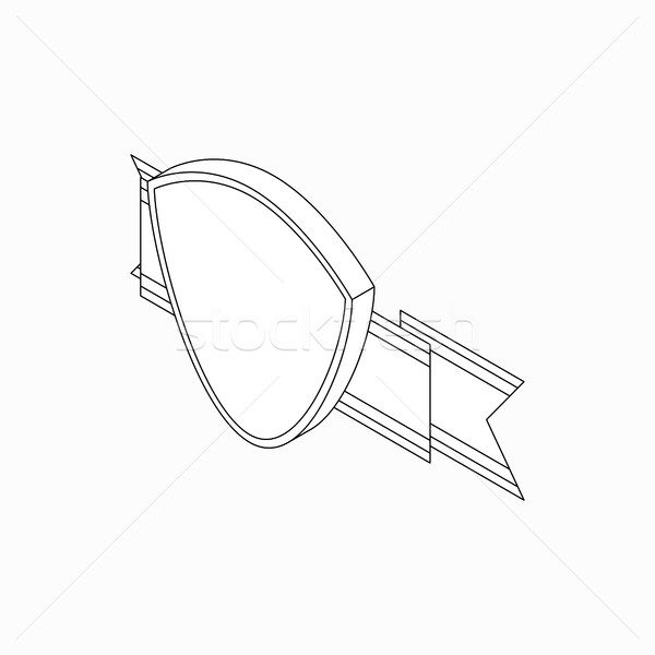 Shield with ribbon icon, isometric 3d style  Stock photo © ylivdesign