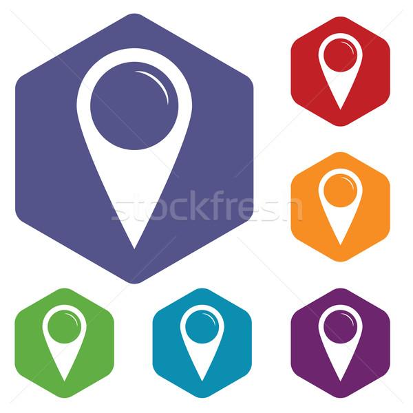 Pointer rhombus icons Stock photo © ylivdesign