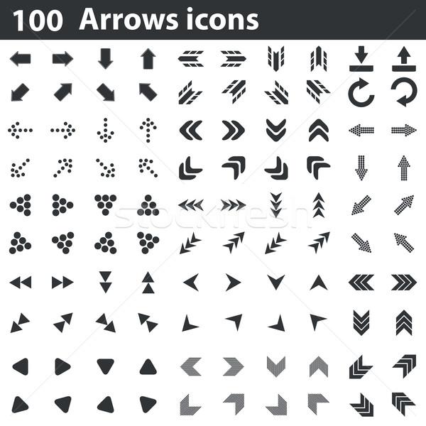 100 arrows icons set Stock photo © ylivdesign