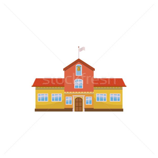 School gebouw icon cartoon stijl witte Stockfoto © ylivdesign