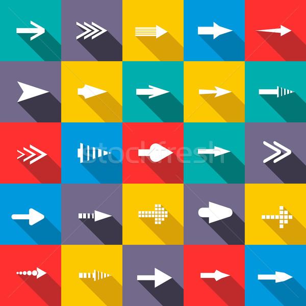 Nyíl ikon gyűjtemény stílus kék piros hát Stock fotó © ylivdesign