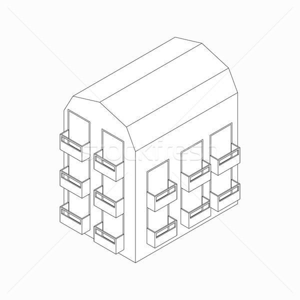 Low-rise building with balconies icon Stock photo © ylivdesign