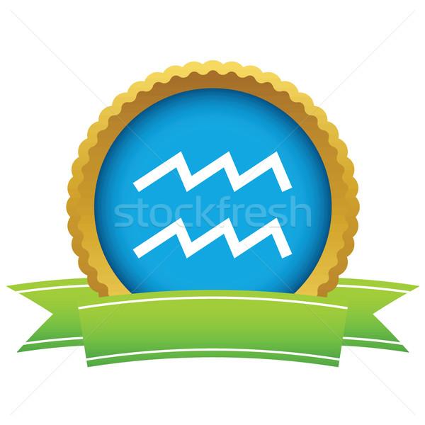 Gold Aquarius logo Stock photo © ylivdesign