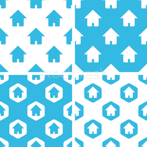 ホーム パターン セット 単純な 青 白 ストックフォト © ylivdesign