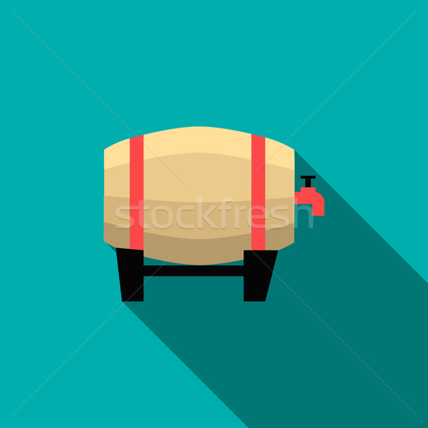 Wooden beer barrel icon, flat style Stock photo © ylivdesign