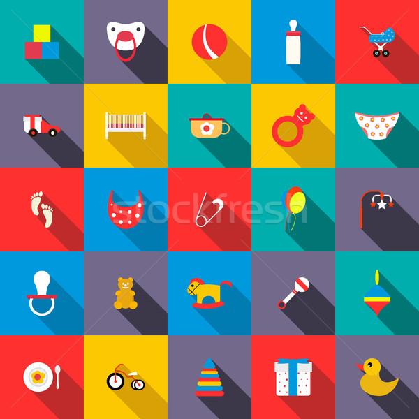 Speelgoed stijl gelukkig ontwerp teken Stockfoto © ylivdesign