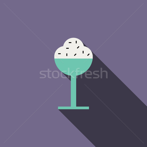 Ice cream in a glass icon, flat style Stock photo © ylivdesign