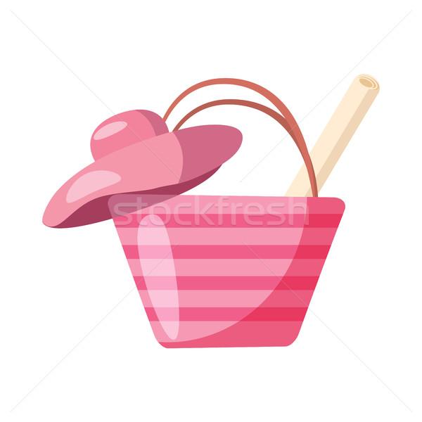 Stock fotó: Rózsaszín · strandszatyor · kalap · ikon · rajz · stílus