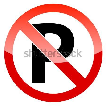 Czerwony ograniczony ostrzeżenie wektora graficzne parking Zdjęcia stock © ylivdesign