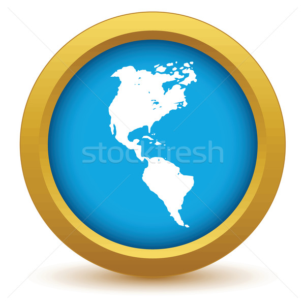 Goud continent amerika icon witte kaart Stockfoto © ylivdesign