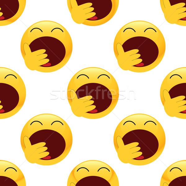 ásít emotikon minta vektor kéz tapéta Stock fotó © ylivdesign