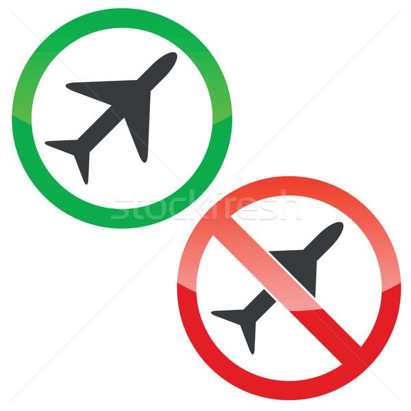 Avion autorisation signes permis interdit Photo stock © ylivdesign