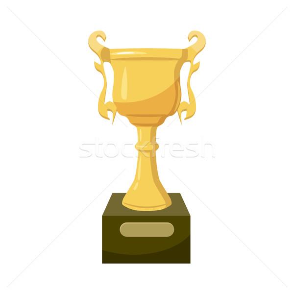 Gouden trofee beker icon cartoon stijl Stockfoto © ylivdesign