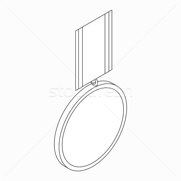 Medalla icono 3D estilo blanco Foto stock © ylivdesign