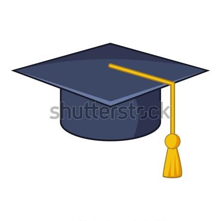 Mezuniyet kapak ikon karikatür stil beyaz Stok fotoğraf © ylivdesign