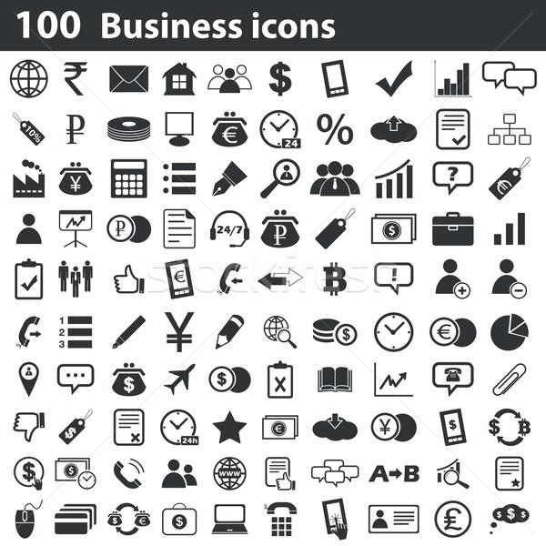 Stock fotó: 100 · üzlet · ikon · szett · feketefehér · fekete · sziluett