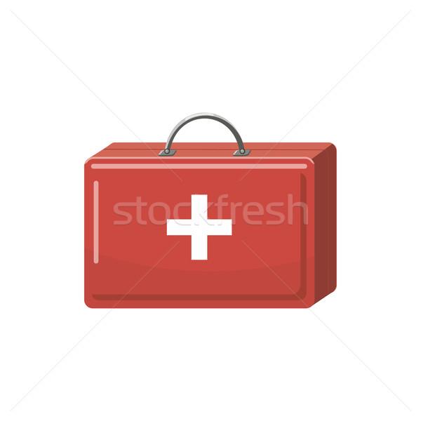 Gyógyszer mellkas ikon rajz stílus fehér Stock fotó © ylivdesign