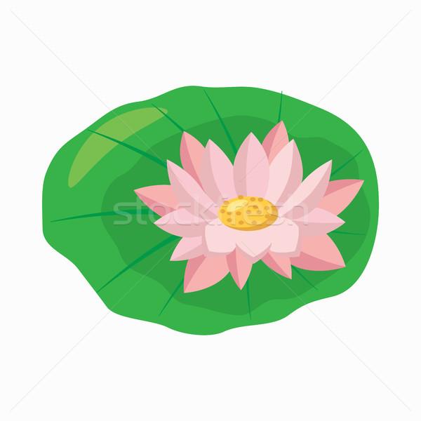 Ikona cartoon stylu zielony liść odizolowany Zdjęcia stock © ylivdesign