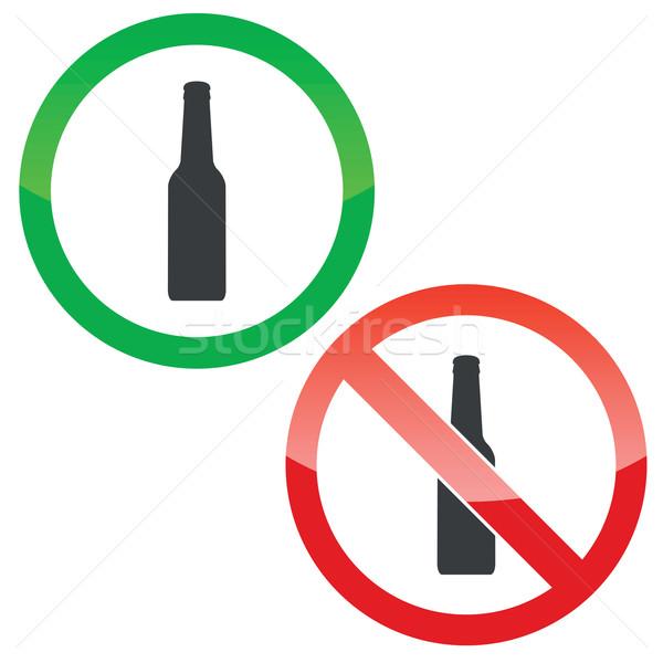 álcool permissão sinais conjunto permitido proibido Foto stock © ylivdesign