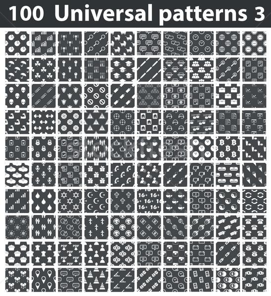 Uniwersalny wzorców zestaw biały zdjęcia czarny Zdjęcia stock © ylivdesign