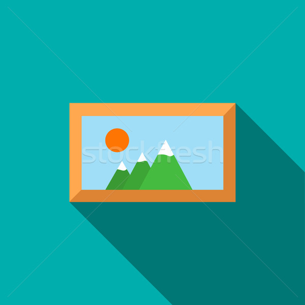 Picture in a frame icon, flat style Stock photo © ylivdesign